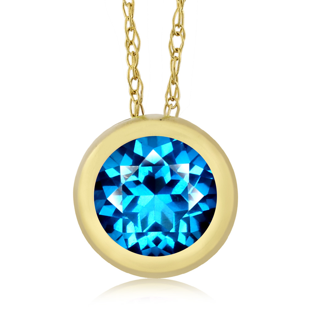 14K Yellow Gold Pendant Set with Round Kashmir Blue Topaz from Swarovski by