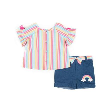 Short Sleeve Rainbow Stripe Flutter Top & Denim Short Set, 2pc Outfit Set (Baby Girls & Toddler Girls)