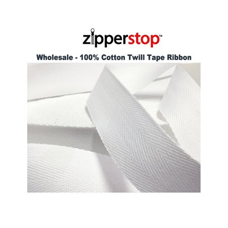 ZipperStop Wholesale - 100% Cotton Twill Tape Ribbon 100 YDS/ROLL Made in the USA (3/4