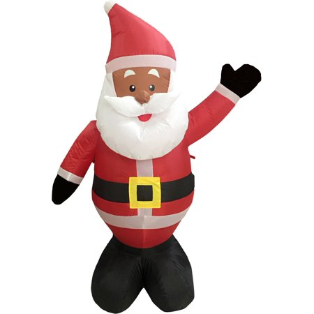 Black African American Santa Claus 4' Inflatable Airblown Christmas Yard - Inflatable Santa