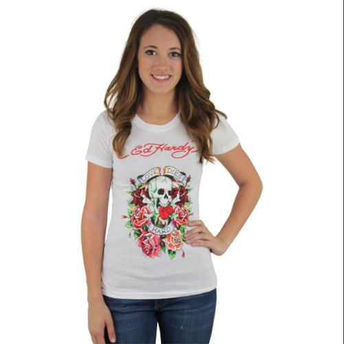 Ed Hardy Christian Audigier Love Dies Hard Women's Skull Rose Tattoo Size S