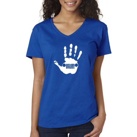 - New Way 773 - Women's V-Neck T-Shirt Jeep Handprint Wave Grille Wrangler Cherokee 2XL Royal Blue