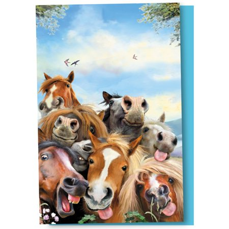 Horse Party Invitations (Tree-Free Greetings Horses Selfie Boxed Notecards Blank Note)