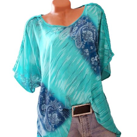 Womens Summer Casual Floral Printed T-shirt O-neck Short sleeve Tunic Blouse Plus Size -