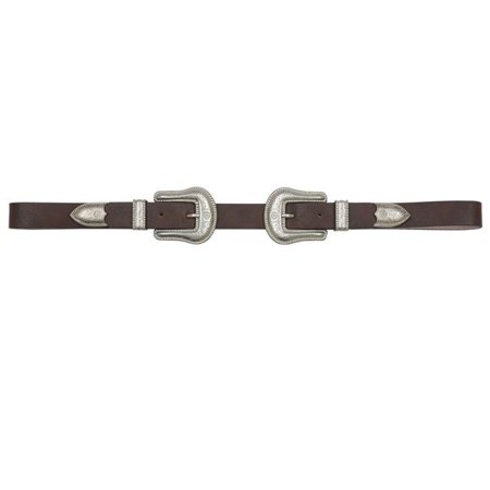 Angel Ranch DA6172-S 1 in. Double Buckle Set Ladies Belt, Brown - Small - 3 (A198 One Piece Buckle Belt)