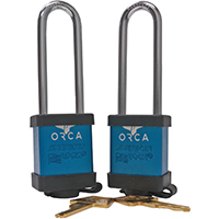 ORCA ORCLBL Water Cooler Lock, 3 in Shackle Clearance, Aluminum, Blue per PK2