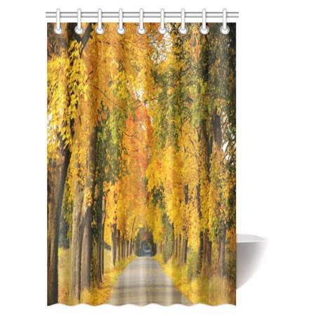 MYPOP Woodsy Shower Curtain Forest Woods Falling Leaves Fall Park Road Autumn Country Home Fabric