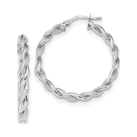 14k White Gold w Polished Textured Hoops - image 2 of 4