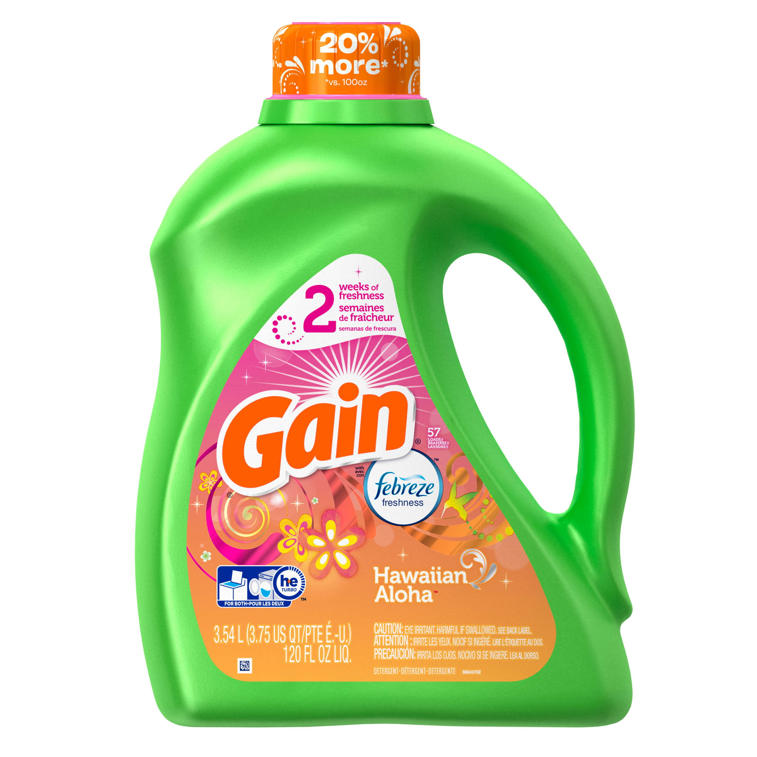 Gain Liquid Laundry Detergent, Hawaiian Aloha, 57 Loads 120 fl oz