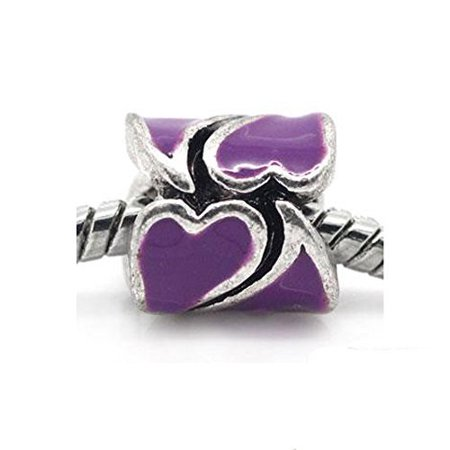 Mothers Day Jewelry Heart Pattern With Purple Rhinestones for snake chain charm (Bracelets For Mother's Day)