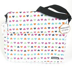 Notebook Shoulder Bag - White Multi Heart