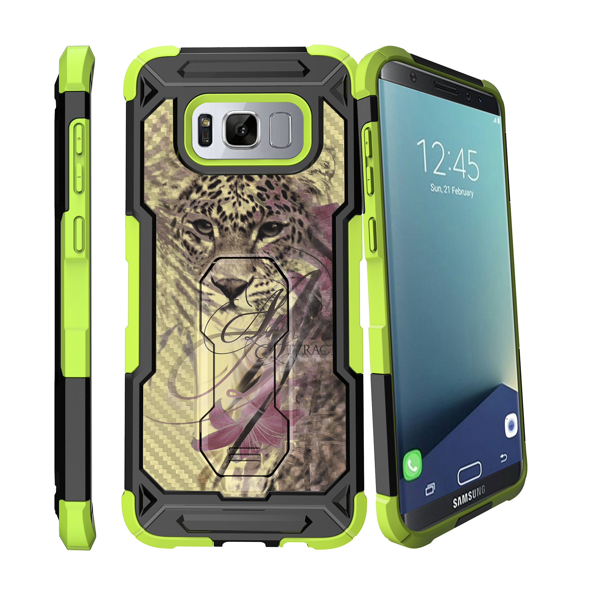 Case for Samsung Galaxy S8 Plus Version [ UFO Defense Case ][Galaxy S8 PLUS SM-G955][Green Silicone] Carbon Fiber Texture Case with Holster + Stand Tribal Collection