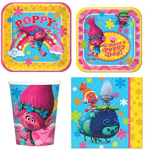 Trolls Party Express Pack for 8 Guests (Cups Napkins & Plates), Trolls Express Party Package for 8 By FreeShipping