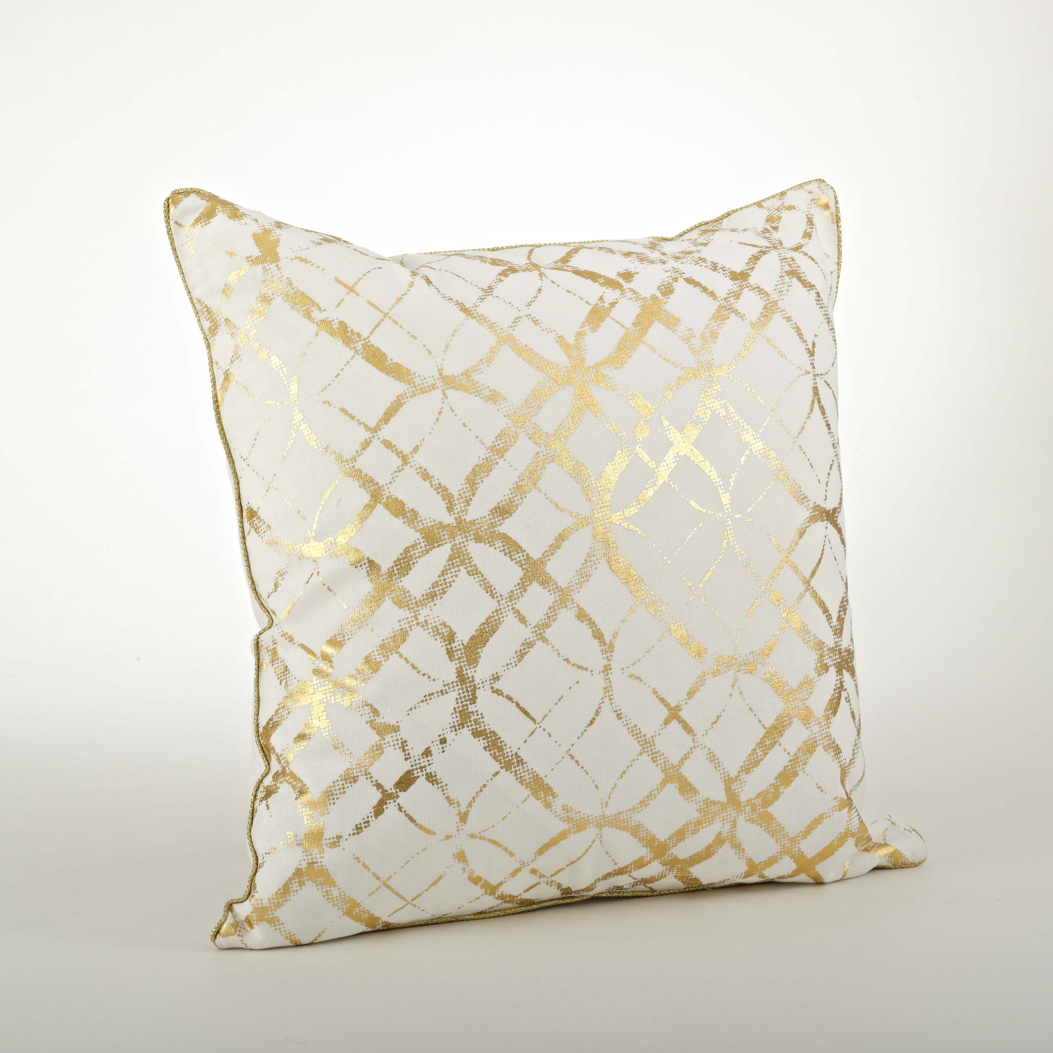 Saro Metallic Foil Print Pillow - 20inch