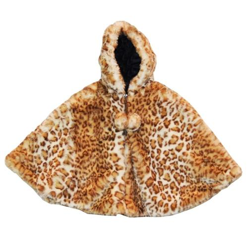 Little Girls Snow Leopard Faux Fur Poncho 1T-2T