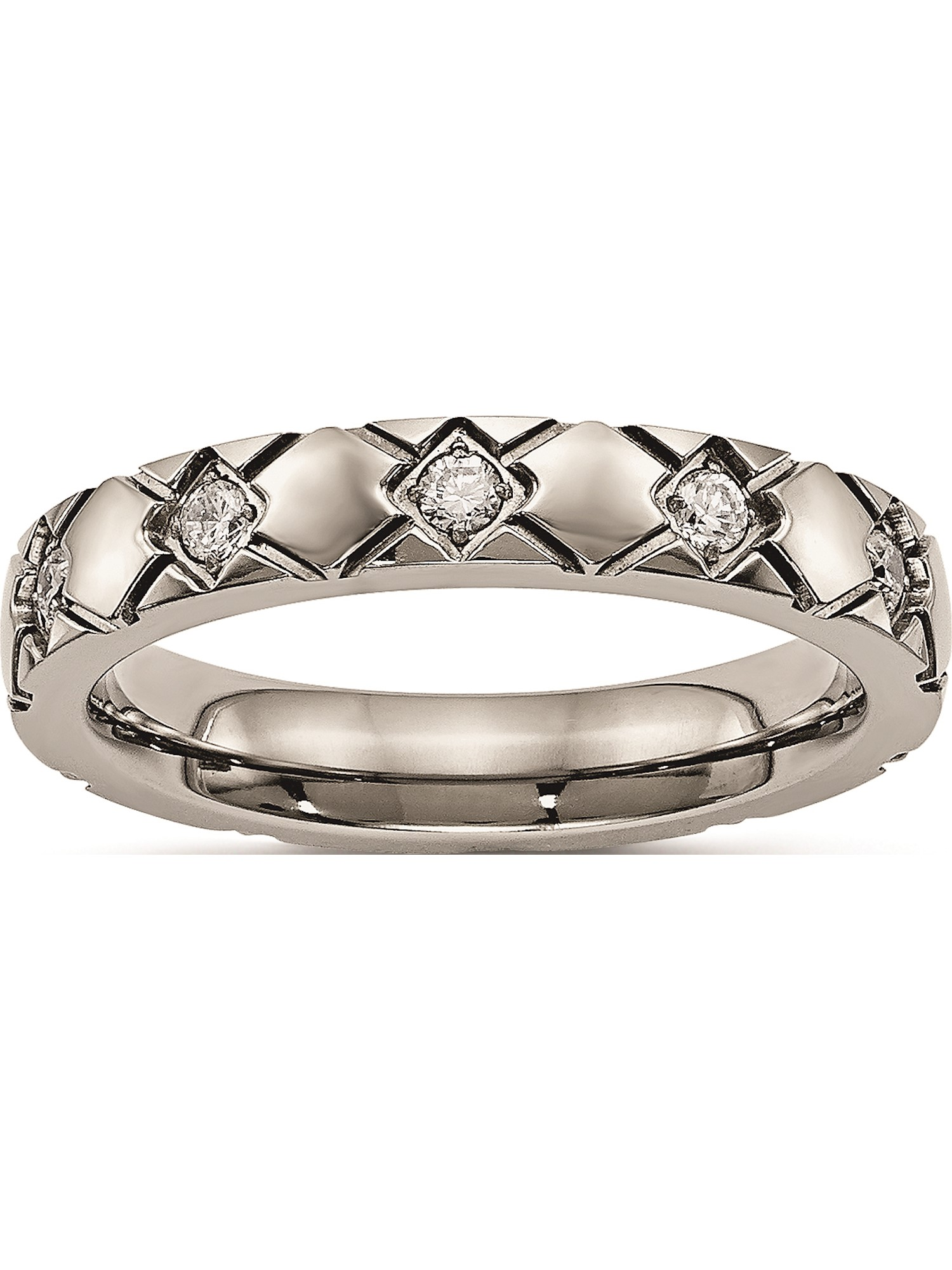 Titanium Polished Grooved CZ Ring.