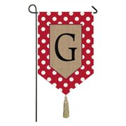 Evergreen Enterprises Polka Dot Welcome Monogram Garden Flag