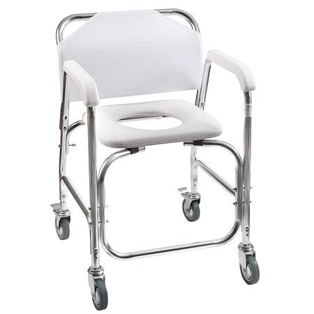 Padded Vinyl Shower Chair - DMI Rolling Shower and Commode Transport Chair with Wheels and Padded Seat for Handicap, Elderly, Injured and Disabled, 250 lb Weight Capacity