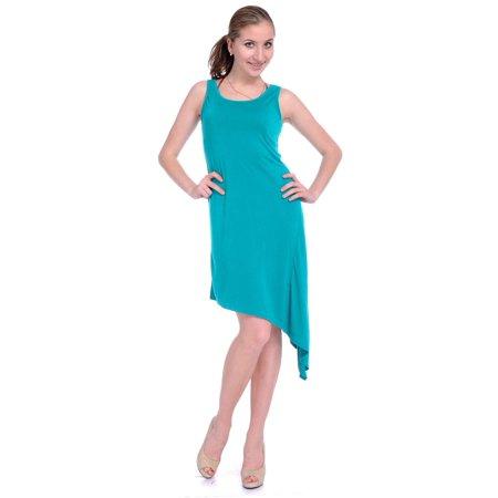 Length Cut Out - Anna-Kaci S/M Fit Green Asymmetrical Slant Cut Out Back Knee Length Basic Dress