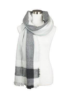 Womens Plaid Multi Line Color Contrast Design Soft Warm Fall Winter Oblong Scarf