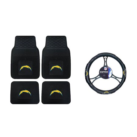 San Diego Chargers Vinyl - San Diego Chargers 2 Front Vinyl Floor Mats And 2 Rear Vinyl Floor Mats With Wheel Cover