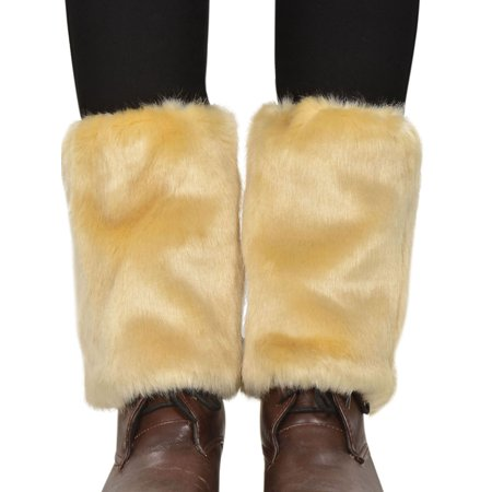 Women's Winter Faux Fur Leg Warmers Fuzzy Boots Cuffs Cover, - Furry Winter Boots