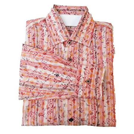 Luchiano Visconti Floral Striped Red Orange Print Button Down Modal Blend L S Shirt Small