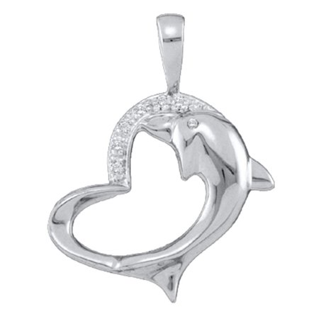 10K White Gold Diamond Dolphin Heart Necklace Pendant .03 Ctw.