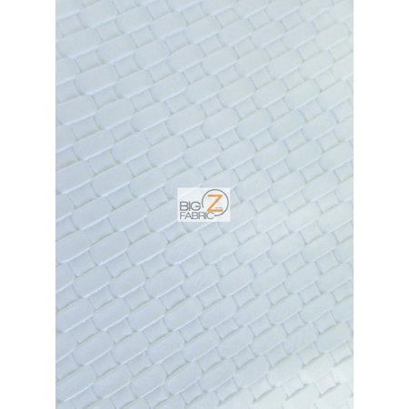Lattice Basket Weave Upholstery Vinyl Fabric / White / Sold By The Yard ()