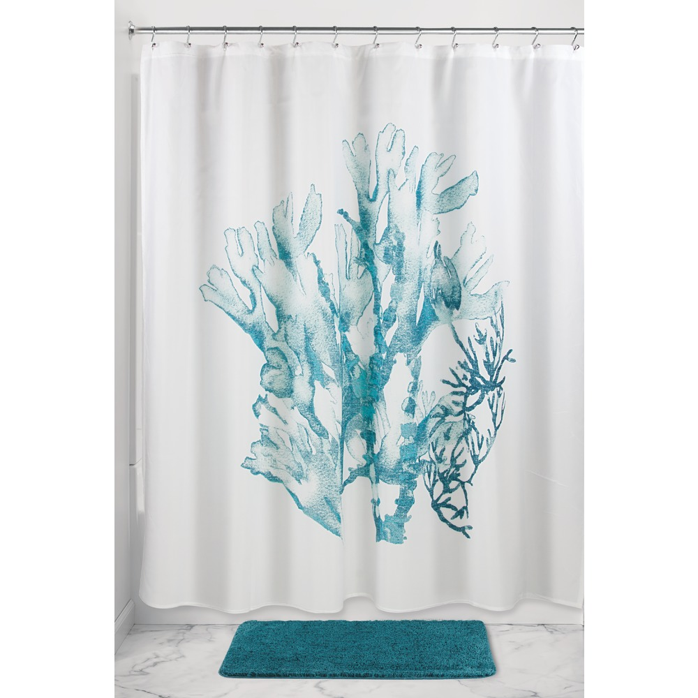 Coral And Grey Shower Curtain Deep Magenta and Teal Show