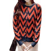 Women Long Sleeve Zig-Zag Pattern Sweater Cardigan Orange Red M
