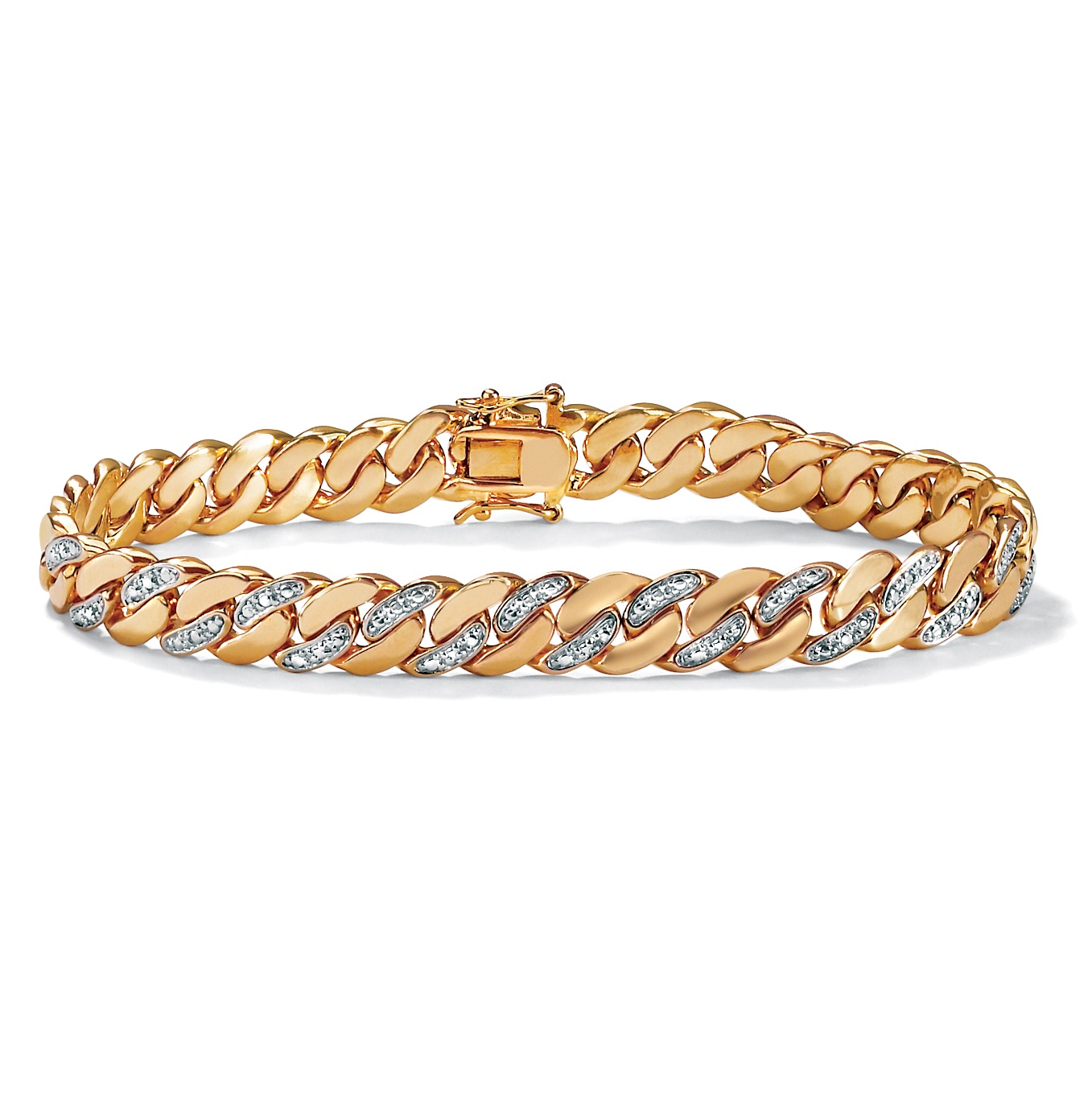 Men's Diamond Accent 9 mm Curb-Link Bracelet 18k Yellow Gold-Plated 8.5""