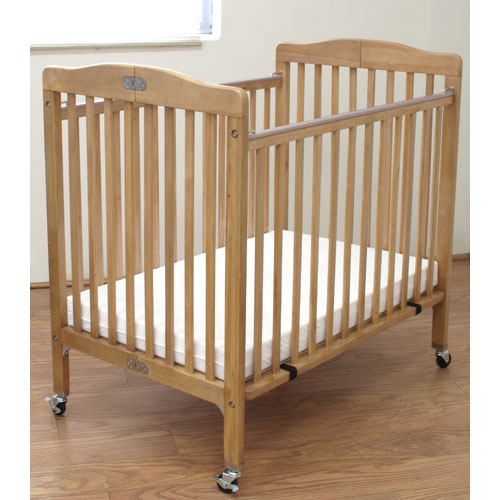 L.A. Baby Compact Folding Wood Commercial Crib - Natural