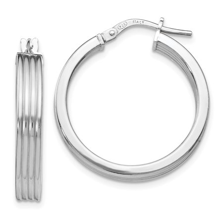 Leslie's Sterling Silver Polished Grooved Hoop Earrings QLE962 - image 2 of 2