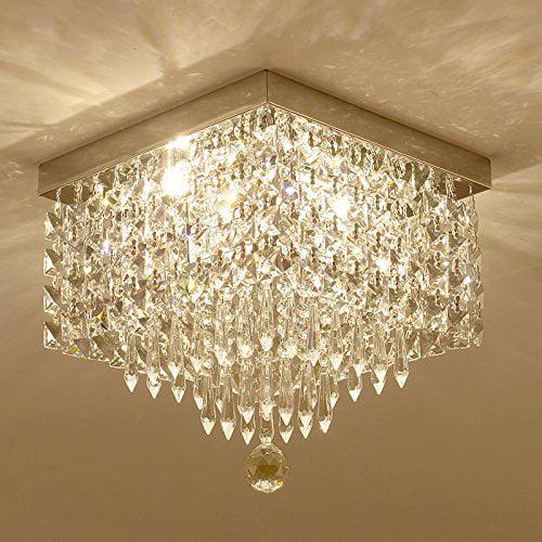 Moooni Crystal Chandelier Modern Flush Mount Ceiling Lights W12 Walmart Com Walmart Com