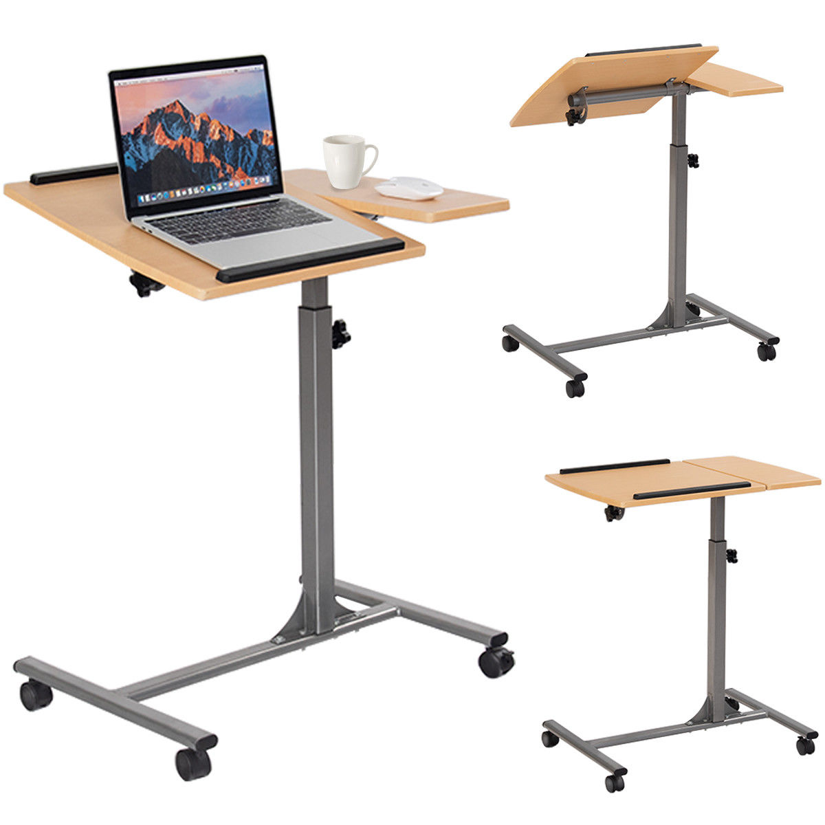 GHP 110-Lbs Capacity Walnut MDF Steel Frame Swivel Base Height Adjustable Laptop Table