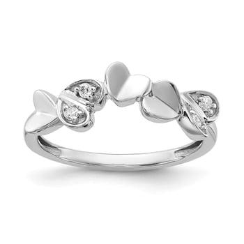 Lex /& Lu 14k White Gold Signet Ring LAL97675