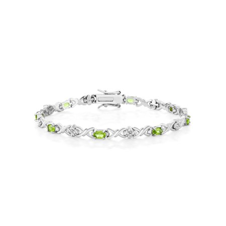 - 4.00 Ct Peridot Rhodium Plated 925 Sterling Silver Bracelet with Diamond Accent