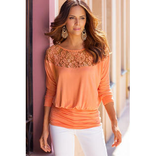 Women Round Lace Stitching Waist Fitted Look Shirt and Blouse Orange