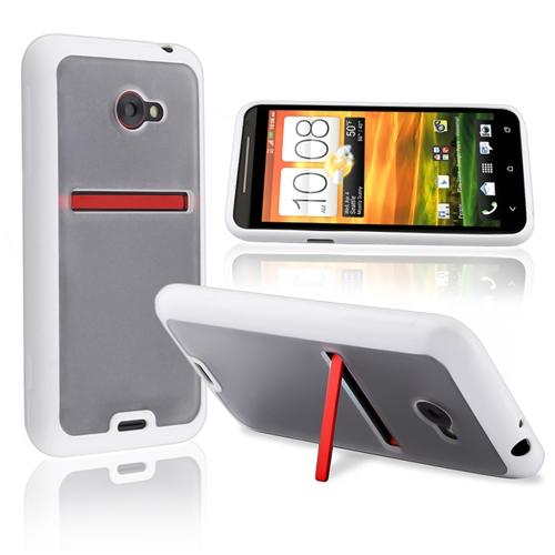 INSTEN TPU Rubber Skin Case For HTC EVO 4G LTE, Clear with White Trim
