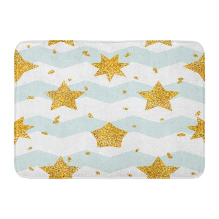 GODPOK Yellow Zag with Gold Golden Star Collection Blots Drops Blue Strips Gloss Shine Spark Endless Repeatable Rug Doormat Bath Mat 23.6x15.7 inch