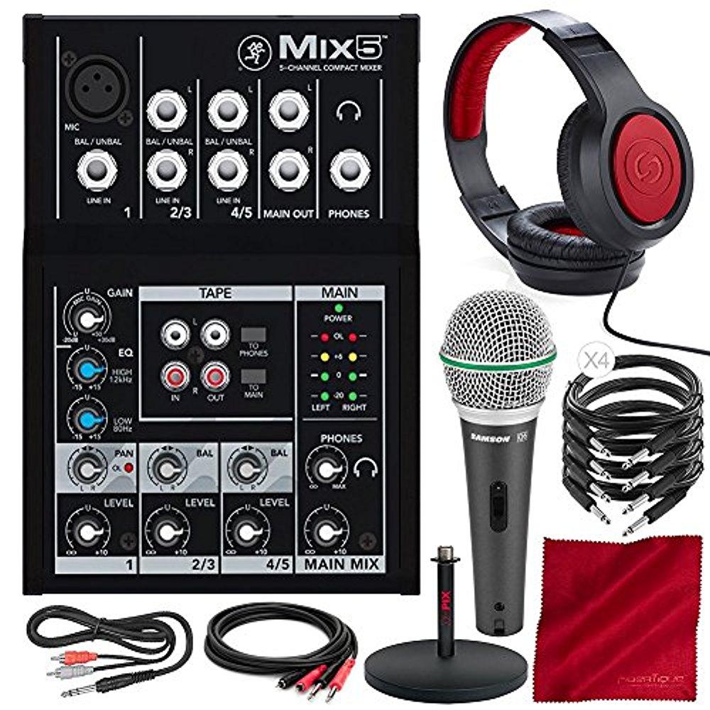 Mackie Mix Series Mix5 5-Channel Compact Mixer and Platinum Bundle w/ Dynamic Microphone + Studio Desktop Mic Stand + Headphones + Cables + Fibertique Cloth