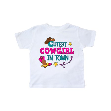 Cutest Cowgirl in Town with Cowgirl Hat and Boots Toddler T-Shirt](Toddler Cowgirl Hat And Boots)