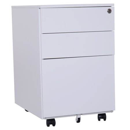 Vinsetto 3 Drawer Filing Cabinet 24 Wheels Metal Locker Under Desk ()
