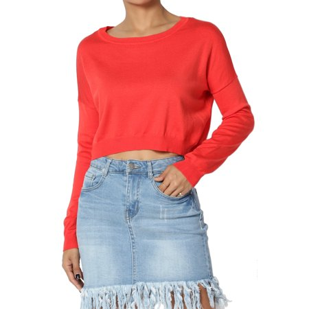 Dolman Crop - TheMogan Junior's Dolman Long Sleeve Boat Neck Lightweight Knit Relaxed Fit Crop Top