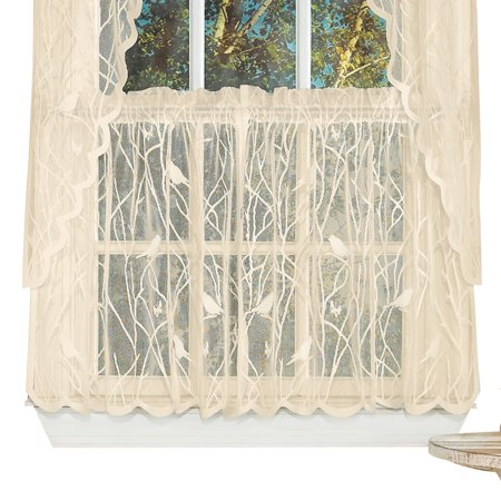 Lace Window Café Curtain Tiers with Songbirds & Branches, 56