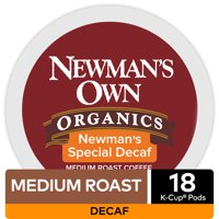 Newman's Own Organics Decaf Special Blend K-Cup Coffee Pods, Medium Roast, 18 Count for Keurig Brewers