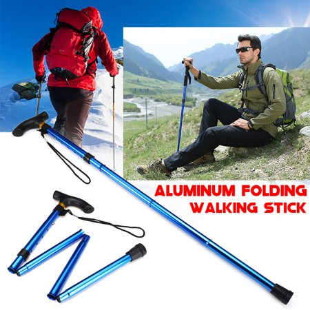 Trekking Hand Art - Aluminum Trekking Poles Walking Stick 5-Section Adjustable 82-92cm Foldable Trekking Hiking Stick Pole Alpenstock Anti-Shock For Mountaineering Traveling with Hand Strap