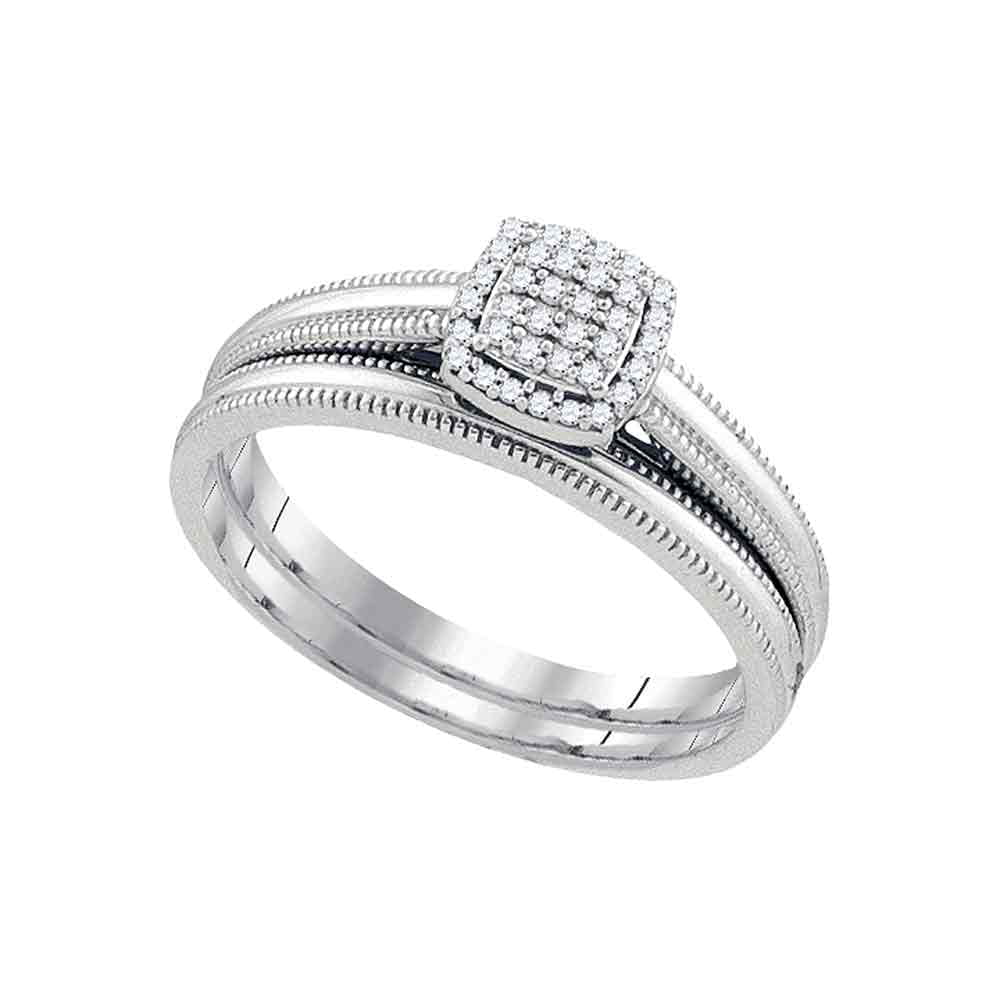 10kt White Gold Womens Round Diamond Bridal Wedding Engagement Ring Band Set 1 10 Cttw by Saris and Things GD