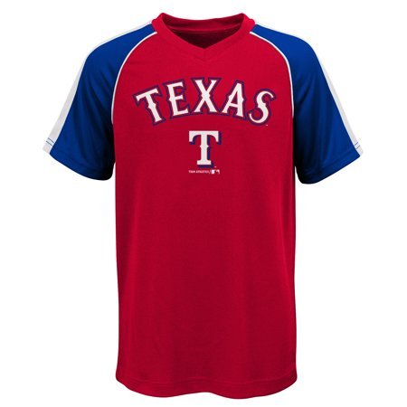 MLB Texas RANGERS TEE Short Sleeve Boys Fashion Jersey Tee 100% Polyester Pin Dot Mesh Jersey Team Tee 4-18 Ranger Baseball Jersey